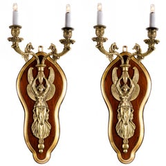 Pair of French Bronze Figural Sconces Two-light Winged Victory Napoleon III