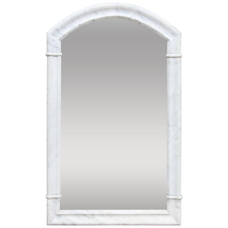 Italian Polished White Marble Mirror, 19th Century, Rare
