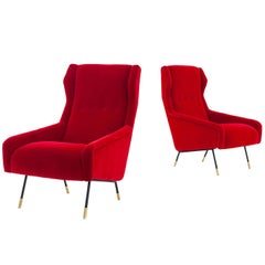 Pair of Italian Red Velvet Brass and Iron Lounge Chairs, 1950s