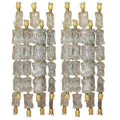 Pair of Monumental Wall Sconces by Barovier Toso, Venini Glass, circa 1950s