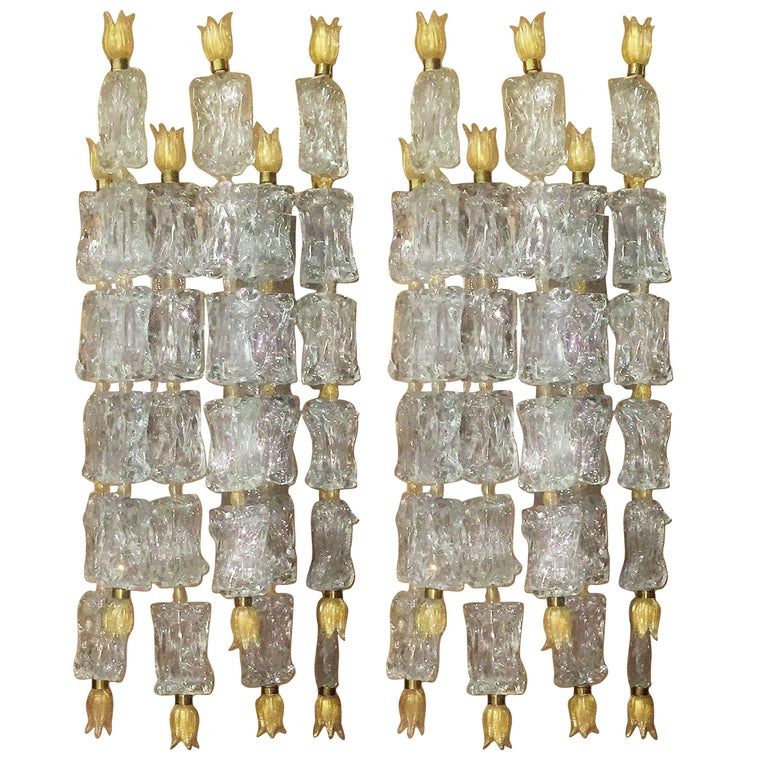 Pair of Monumental Wall Sconces by Barovier e Toso, Venini Glass, circa 1950s