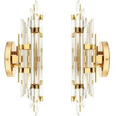 Pair of Venini Style Murano Glass and Gold Plated Sconces, Italy