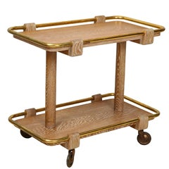 Midcentury Cerused Oak Bar Cart with Brass Mountings