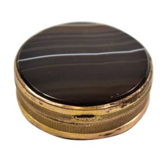 French Round Agate Brass Pill or Snuff Box Turn of the Century