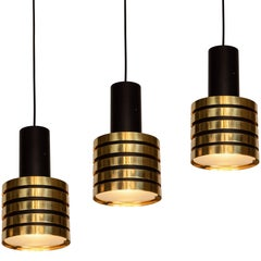 1950s Paavo Tynell K2-49 Brass and Glass Pendants for Taito Oy