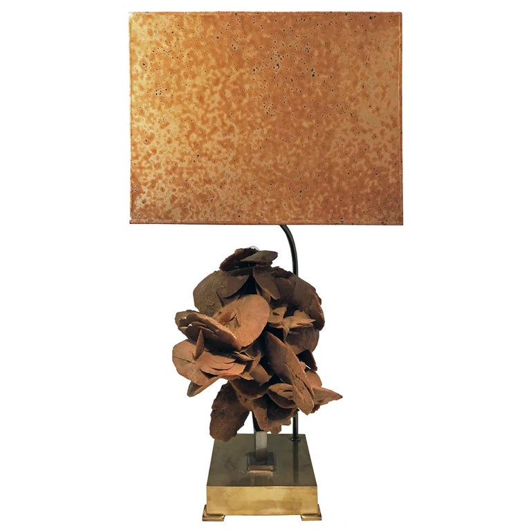 1970s Brass Table Lamp with Sandstone Bloom and Original Shade by Willy Daro For Sale