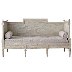 19th Century Swedish Gustavian Period Sofa Bench in Original Paint