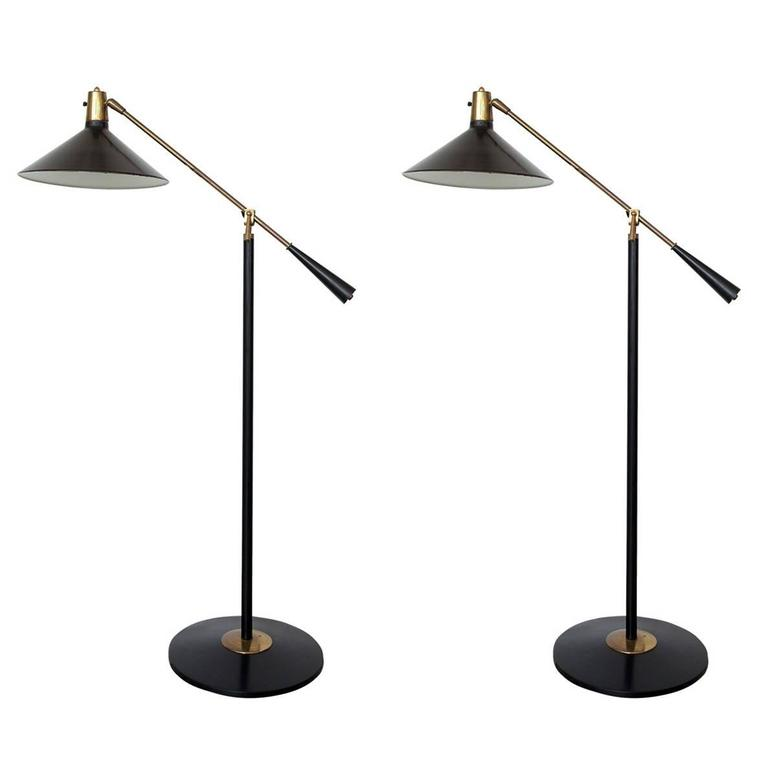 Stilnovo Italian Mid-Century Swing Arm Floor Lamp At 1stdibs