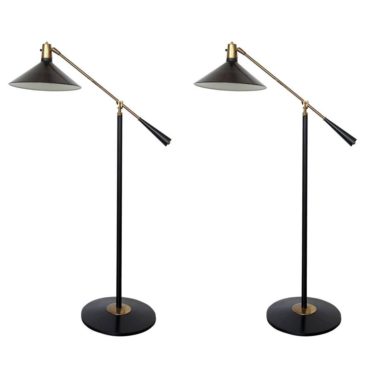 Stilnovo Italian Mid-Century Swing Arm Floor Lamp For Sale