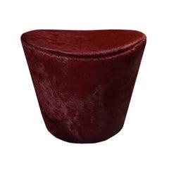 Ikaros Cowhide Footstool, Upholstered Curvilinear Stool, Handmade