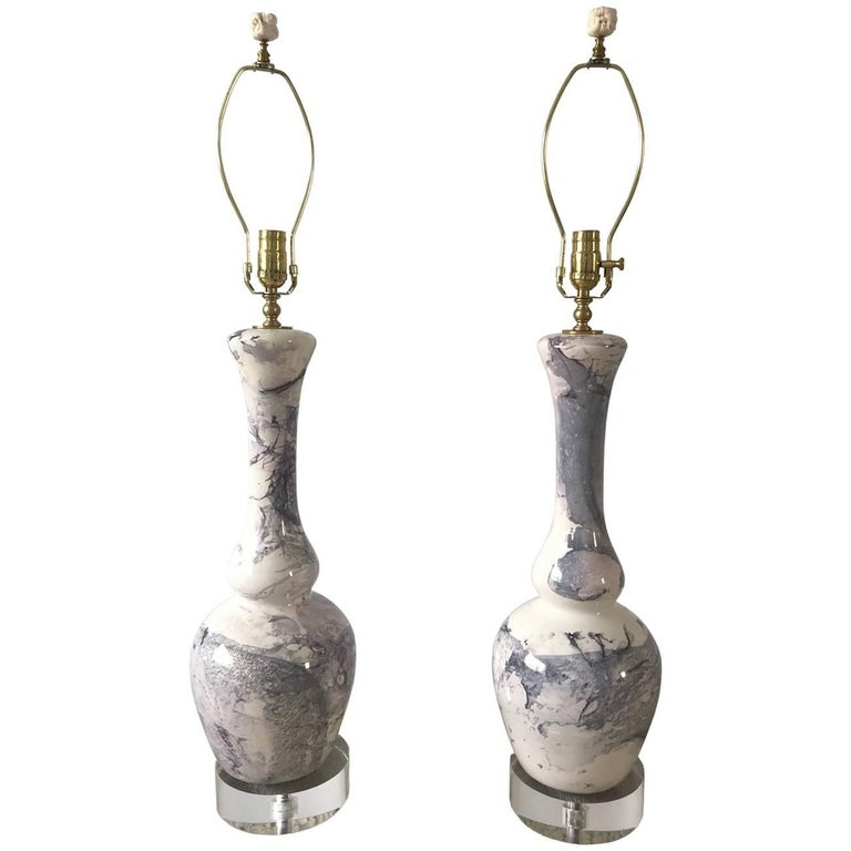 Pair of Glazed Ceramic Table Lamps with Swirled Cream/Gray/Lavender