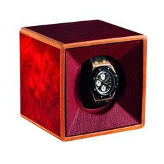 Red Watch Winder Lined in Leather by Agresti