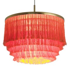 Hans-Agne Jakobsson Red Silk and Brass Chandelier