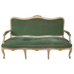 Louis XV Style Settee in Green Velvet