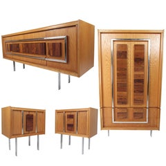 Mid-Century Modern Brutalist Oak and Rosewood Bedroom Set