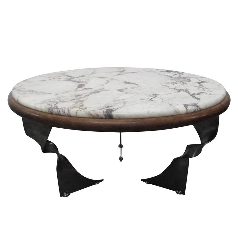 Coffee Table Bases For Marble Tops: Unique Steel Base And Marble-Top Coffee Table For Sale At