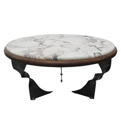 Unique Steel Base and Marble-Top Coffee Table