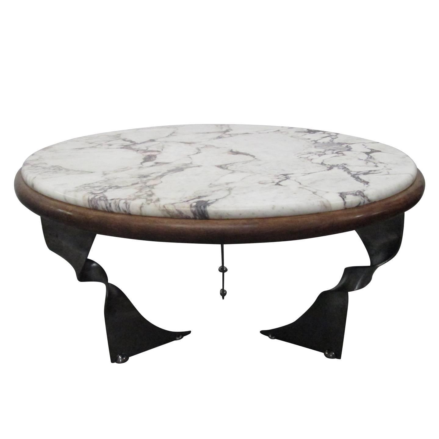 Unique steel base and marble top coffee table for sale at for Metal coffee table with stone top