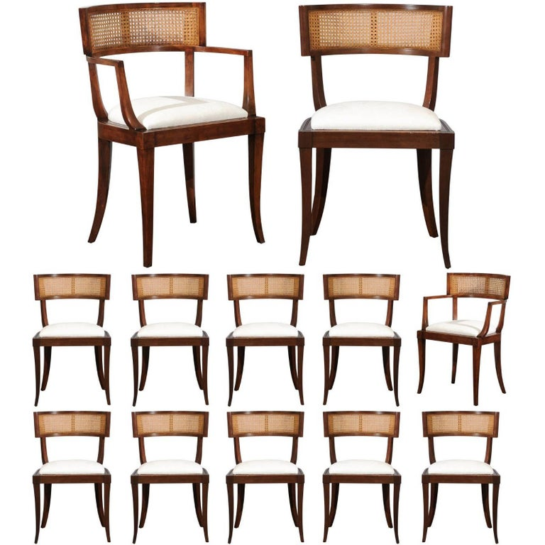 Exquisite Set of Twelve Klismos Cane Dining Chairs by Baker, circa 1958