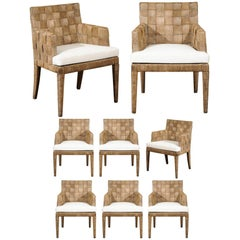 Magnificent Set of Eight Block Island Dining Chairs by John Hutton for Donghia