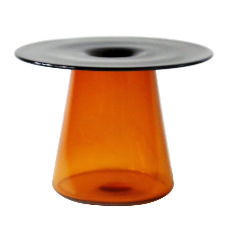 Nina Cho Tabletop Object in Grey and Amber Handmade Glass For Sale