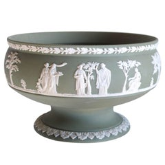 An Elegant English Jasperware Olive-Green Compote; Stamped 'Wedgwood'