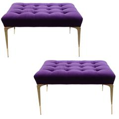 Pair of Deep Tufted Stiletto Benches