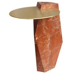 Lapidary Sculpted Drinks Table in Solid Rosso Collemandina Marble