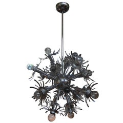 Italian Chrome Sputnik Chandelier in the Style of Gaetano Sciolari