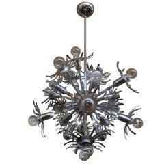 Italian Chrome Sputnik Chandelier in the Style of Gaetano Sciolari