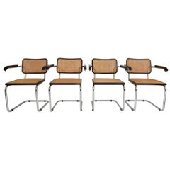 1960s Black Marcel Breuer Cesca Chairs, Italy