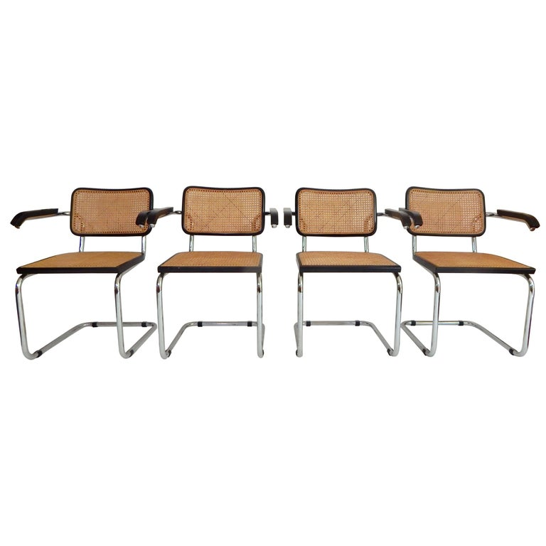 1960s Black Marcel Breuer Cesca Chairs, Italy