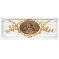 Carved Giltwood and Painted Boiserie Overdoor Frieze Panel with Cherubs Inset