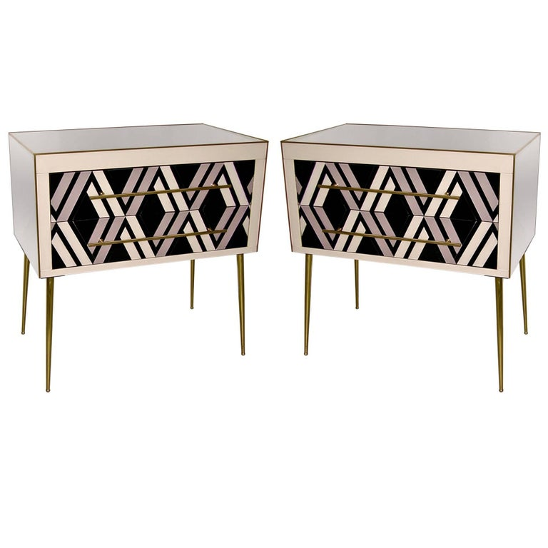 1990 Italian Graphic Pair of Geometric Black White Rose Gray Chests/ Side Tables For Sale