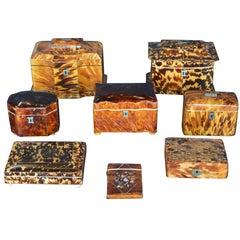 Set of Eight 19th Century Tortoiseshell Boxes
