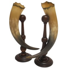 Antique Horn Cornucopias Garnitures, American, Late 19th Century