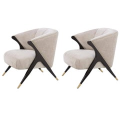 Pair of Black Lacquer Wooden and Velvet Lounge Armchairs