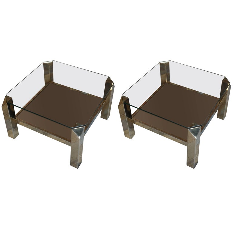 Glass and Brass Vintage Pair of Side Tables with Fine Gold 23-Karat