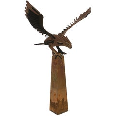Abstract Image of Eagle in Wrought Iron on Base