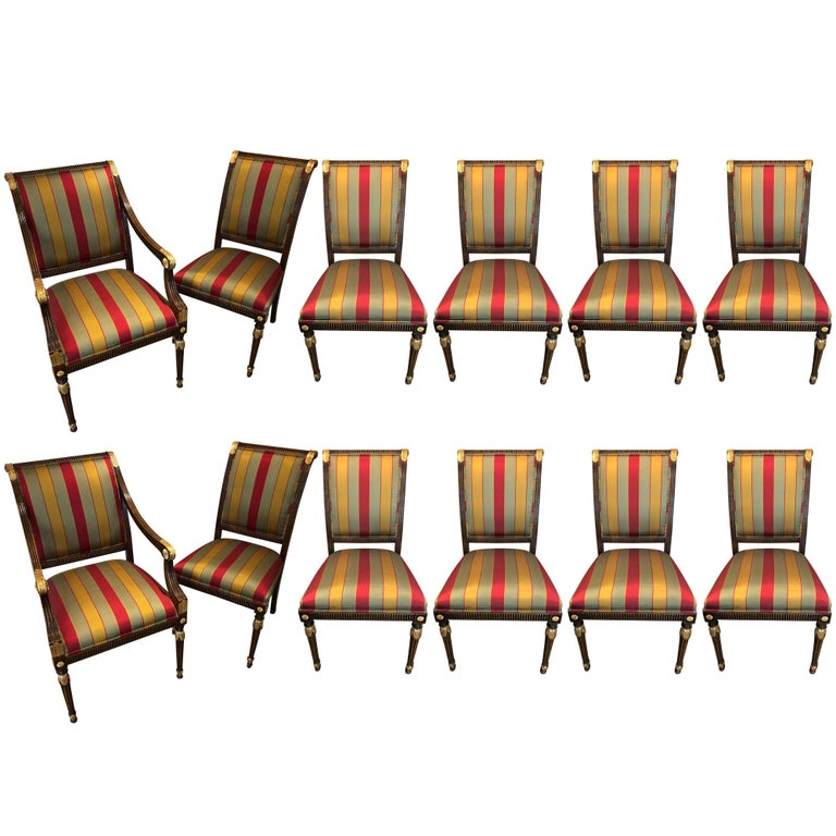 Set of 12 Louis XVI or Hollywood Regency Style Dining Chairs Jansen Style
