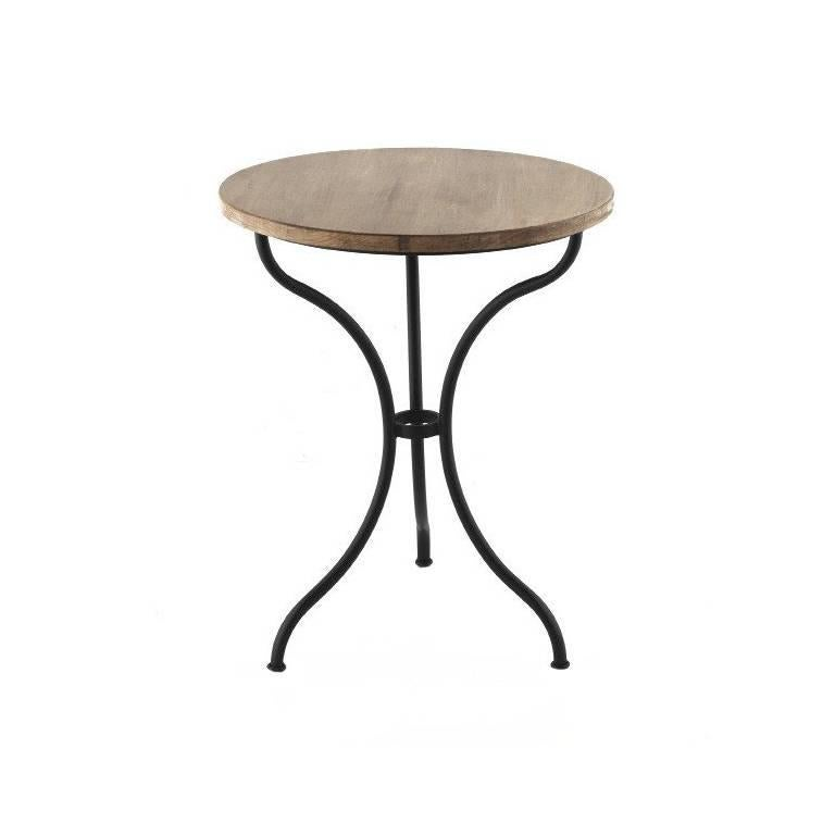 Round French Style Iron Base Table with Wood Top, Garden Table or Bistro Table