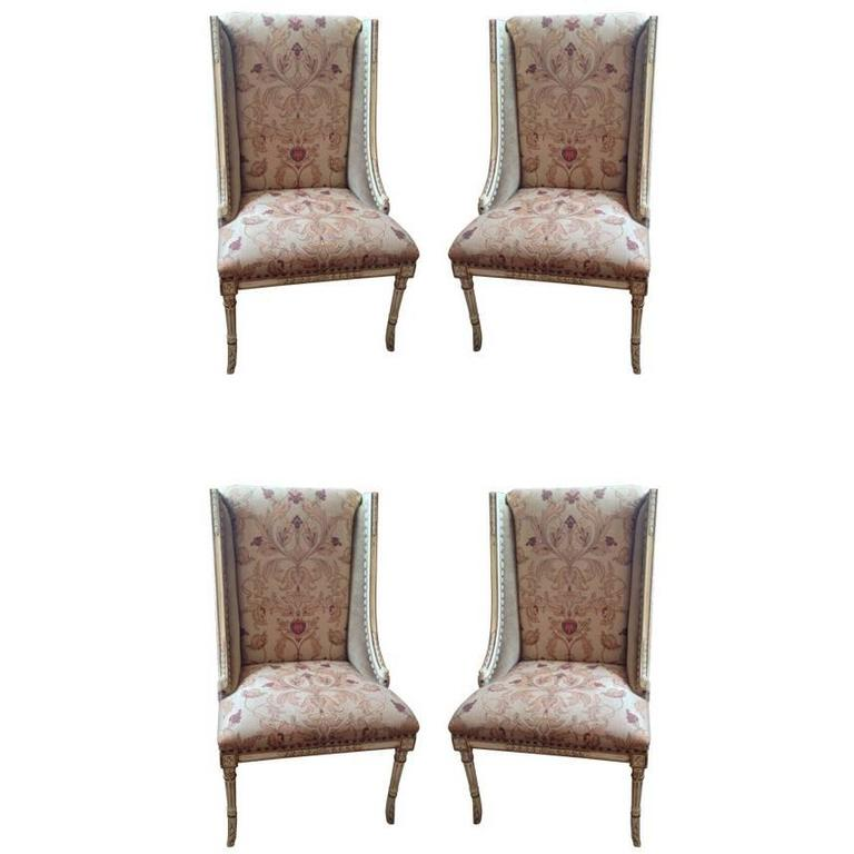 Four Sublimely Upholstered Painted And Carved Wooden Dining Chairs At 1stdibs
