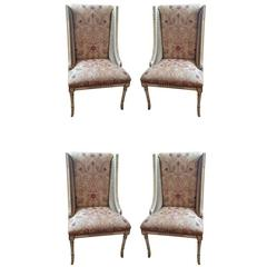 Four Sublimely Upholstered Painted and Carved Wooden Dining Chairs