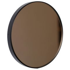 Bronze Tinted Orbis Round Mirror with Black Frame - Diam. 79cm / 31.1""