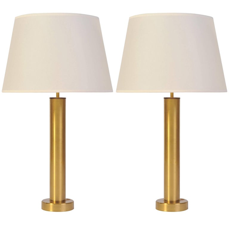 Pair of Brushed Brass Tubular Table Lamps, 1970s