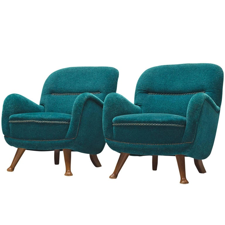 Berga Møbler Pair of Blue Lounge Chairs
