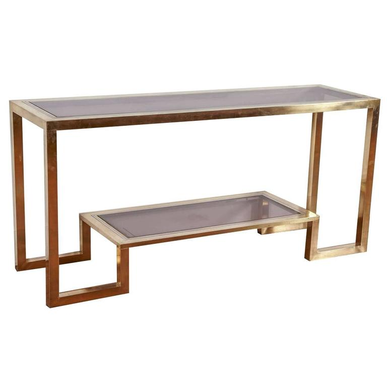 Gilt Brass and chromed Steel Console table by R. Rega, Italy, 1970s