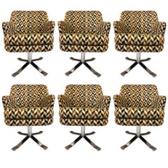 Set of Six Nicos Zographos Swivel Chairs