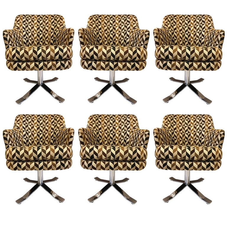 Set of Six Nicos Zographos Swivel Chairs For Sale