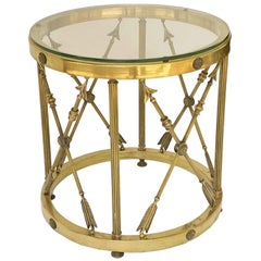 Round Brass and Glass English Occasional Table